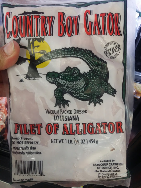 Frozen alligator filets
