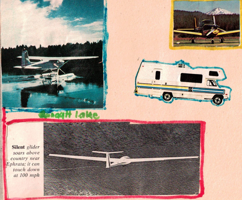 Scrapbook photos of airplanes and a class-c motorhome