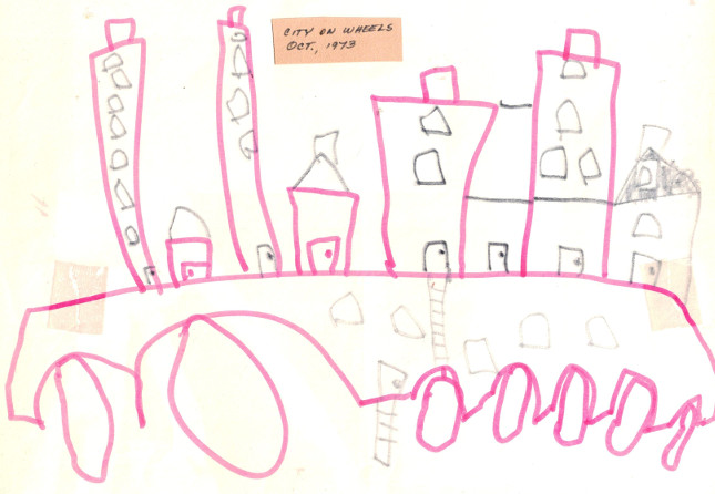A child''s drawing of a city on a large wheeled platform