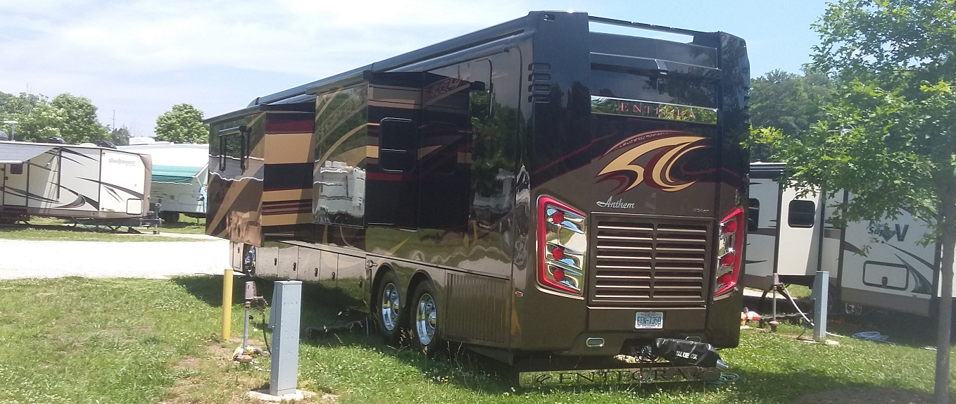 A very expensive motor home parked at the campground