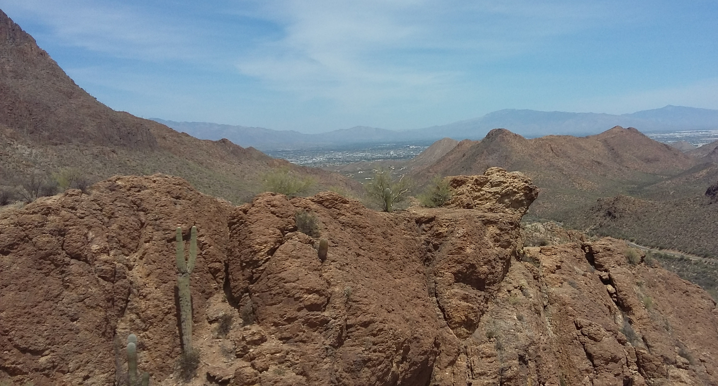 looking back over the hills toward Tucson