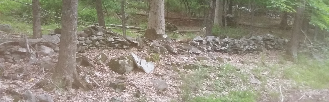 A wall made from rocks marks a boundary from an earlier time